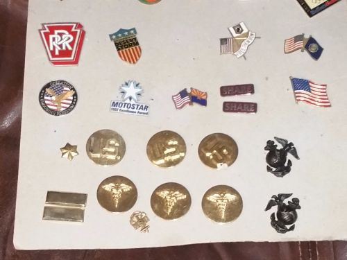 Vintage lot of 27 u.s. military Armed Forces signia lapel pins Rare