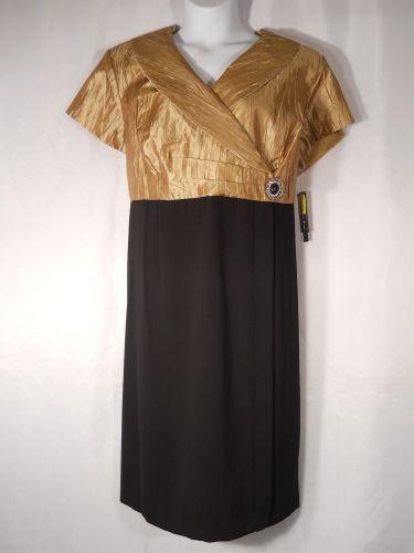 Dana Kay Wing Collar Black/Gold Evening Prom Formal Holiday Dress Plus Size 22W