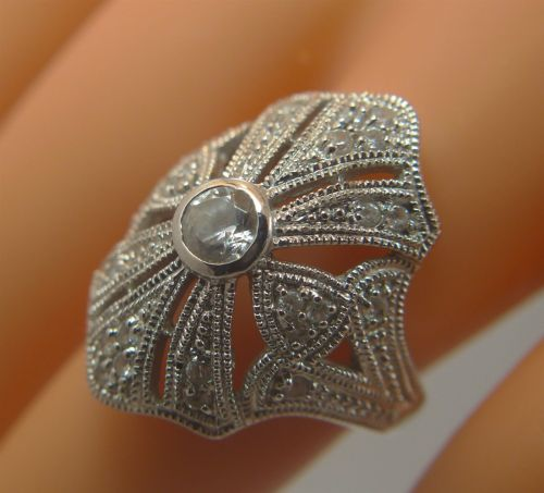 sz 8 RING: sterling silver signed NF TALL pave CZ or RHINESTONES for SPARKLE