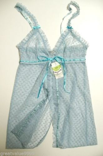 A0293 Honeydew Intimates NEW Blue Hearts Fishnet Front N Rear Open Babydoll 8448