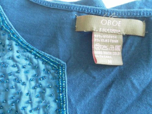 Womens OBOE Stretch Long Sleeve V Neck Top Size M Embellished Beads BlueGreen