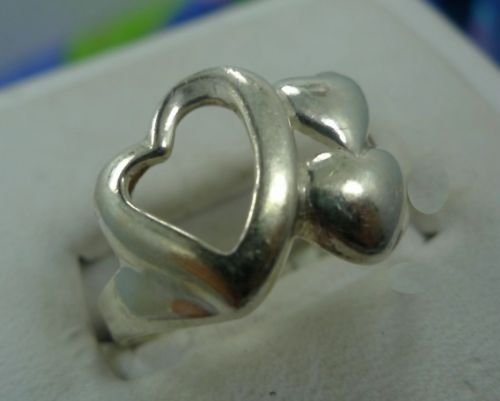 sz 7.5 Ring Sterling Silver 3 Connected Hearts 2 SOLID 1 OPEN Designer Inspired