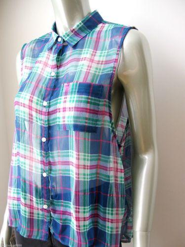 Abercrombie & Fitch NEW Sheer Chiffon Plaids Sleeveless Button Down Shirt L PR