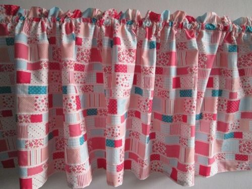 Pink Patchwork Fabric Curtain Door Valance Window Topper 18x59 in with Cord 1 yd