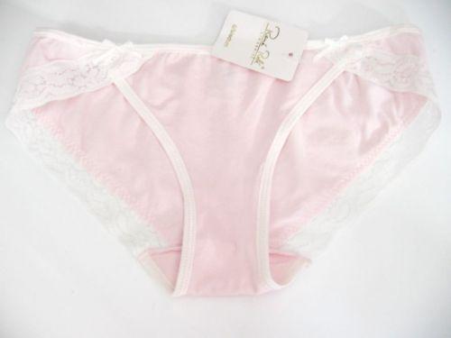 A467 Rene Rofe NEW Women's Pink Stretch Cotton White Floral Lace Cheeky Bikini