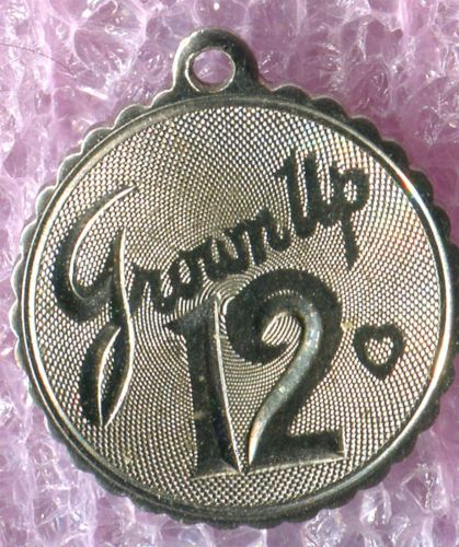 Vintage 12th Birthday Charm : Grown Up 12 - Sterling 925 Silver
