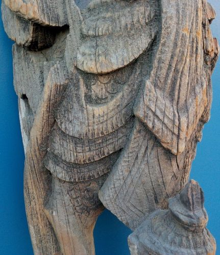 RARE LARGE 18TH CENTURY OR EARLIER TEMPLE THAI CARVED WOOD SCULPTURE OF GARUDA