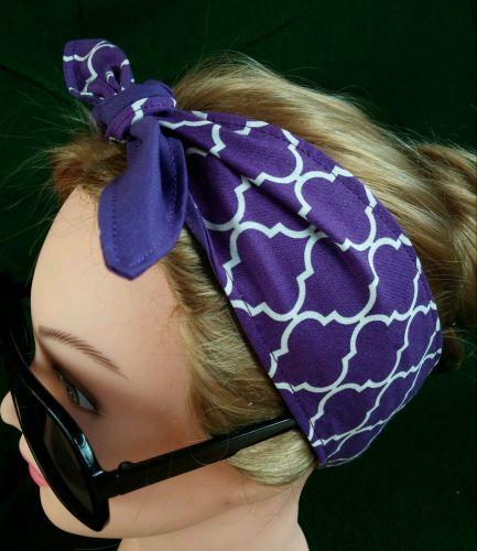 Headband hair wraptie bandanna Quatrefoil print 100% Cotton Handmade