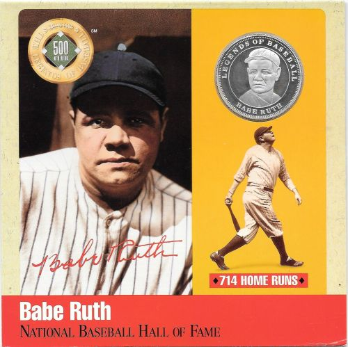 Rare .999 Silver Proof Babe Ruth 500 Club Cooperstown Commemorative~Free Sh