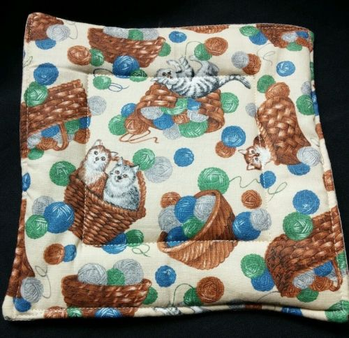 100% quilted Cotton Pot Holder Country Cats design hand made
