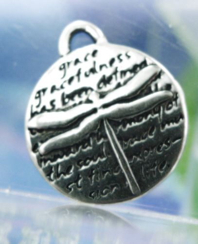 Inspirational Kevin & Anna Charm 950 Silver / DRAGONFLY = GRACE / 16mm