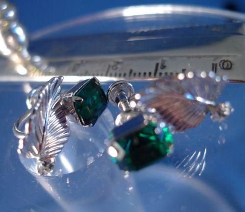 Vintage Screw Back Earrings Emerald Green Cubic Zirconia Sterling by Van Dell