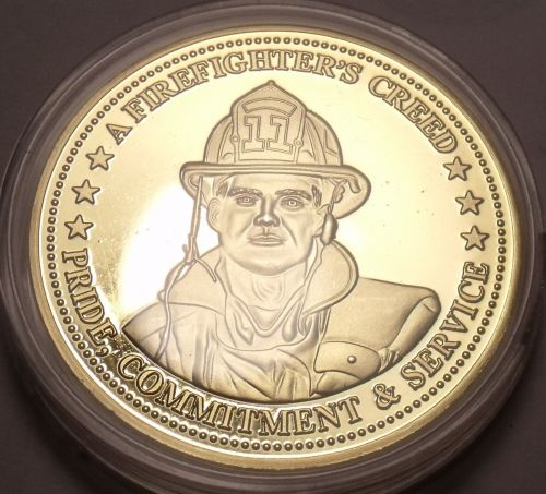 Huge Proof 24k Gold Plated Firefighters Creed Medallion~Pride, Service~Free Ship