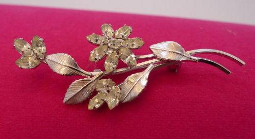 VINTAGE STERLING 925 SILVER & RHINESTONE BROOCH BY D'OR