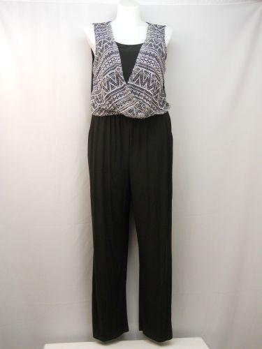 Emma & Michele Jumpsuit Size XL Black Surplice Overlay Sleeveless Wide Leg Pocke