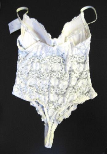 Rampage NEW White Bridal All Over Lace Push-Up UW Bra Teddies Bodysuit 34B/S PR
