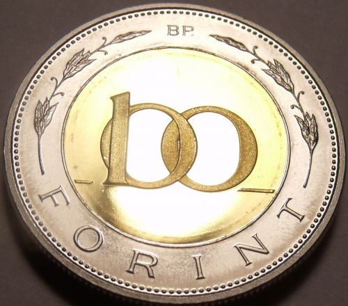 Rare Bi-Metal Proof Hungary 2008-BP 100 Forint~Only 4,000 Minted In Budapest~F/S