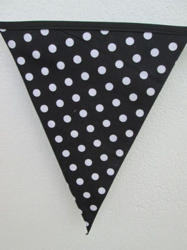 Black & White Gotcha Puzzle Fabric Bunting Double Sided Banner 8 Flags 2 m.7 ft