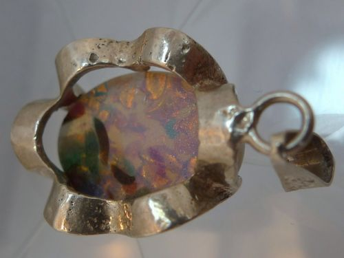 Pendant : Sterling 925 Silver Baby Pink And Powder Blue Opal Made In Mexico