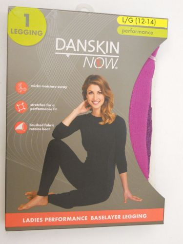 Danskin Now Ladies Performance Baselayer Leggings Size L 12-14 Berry Tagless