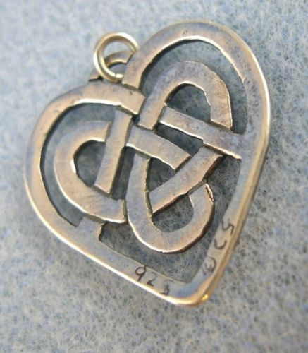 Heart Pendant: Sterling 925 Silver Irish Celtic Heart Signed See Photo