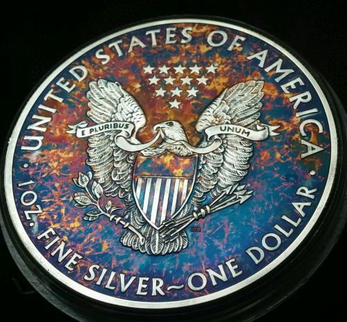 2015 Rainbow Toned Silver American Eagle 1 ounce fine silver uncirculated #a274