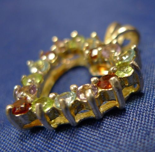 HEART PENDANT: GOLD VERMEIL OVER sterling 925 silver MULTI COLORED STONES