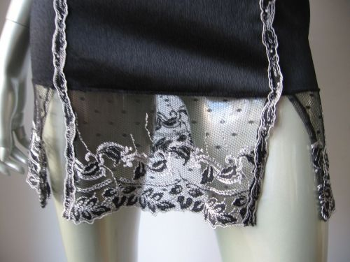 IN010 Unidea NEW Black Stretch Satin Embroidered Lace Chemise 2 Made In Italy PR