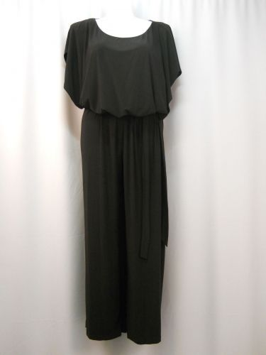Emma & Michele Jumpsuit Plus Size 2X Black Batwing Sleeves Scoop Neck Belted
