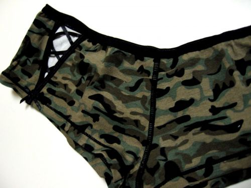 A0215 Next Generation NEW Military Pattern Cut-Off Lace-Up Bow Cotton Hipster PR