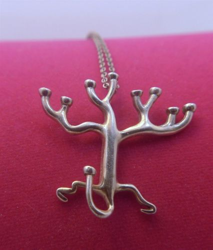 Modernist Menorah Tree Of Life Judaic Silver Pendant & Chain - Rosenthal Israel