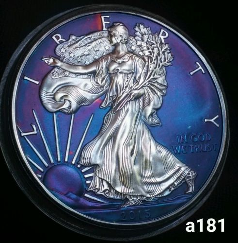 2015 Violet Toned Silver American Eagle 1oz .999 fine slabed ICG Certified #a181