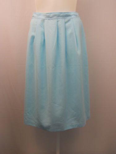 ILGWU Vintage Women's Skirt Blue Pleated Front Knee Length Elastic Back 34X30