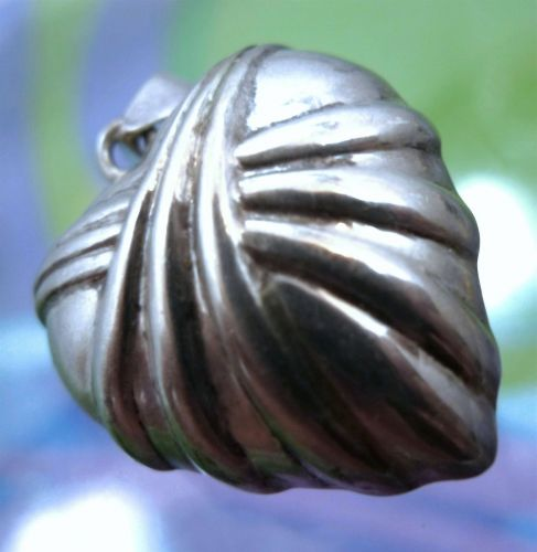 """Vintage Sterling Silver SU THA """"Broken Now Mended or Healed"""" Puffy Heart Pendant"""
