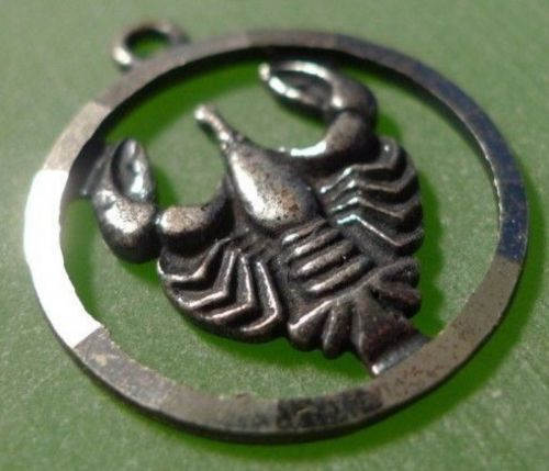 Vintage Astrology Charm : Anson Sterling Silver Zodiac Scorpio or Cancer