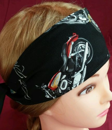 Headband hair wraptie bandanna mens womens Motorcycles print 100% Cotton