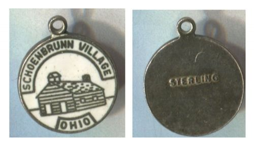 ENAMEL TRAVEL SOUVENIR CHARM : SCHOENBRUNN VILLAGE OHIO STERLING
