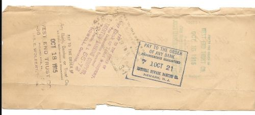 Rare $2000.00 Check 1915 To John Wanamaker New York~Lillian Duvale Estate~Fr/Shi