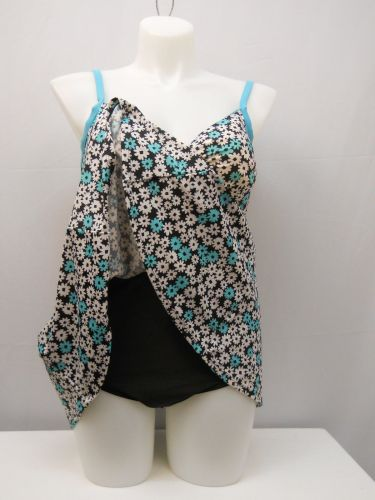 A Shore Fit Thigh Solutions Swimdress Womens Sweetheart Floral Plus Size 18W-24W
