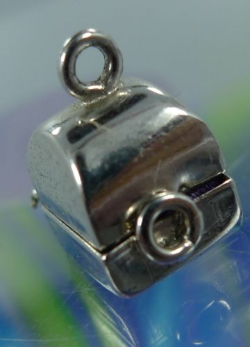 vintage ARTICULATED WELLS sterling 925 silver CHARM : WEDDING RING IN BOX
