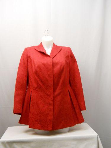 John Meyer Women's Peplum Suit Blazer Plus Size 16W Red Wing Collar Button Front