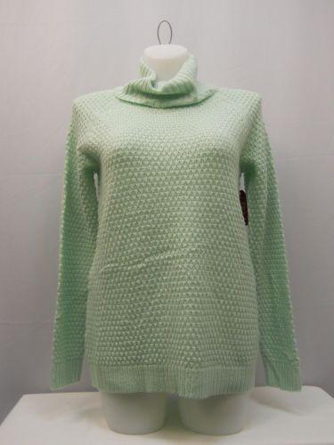 Faded Glory Women's Tunic Sweater Size M Turtle Neck Medium Popcorn Knit Green