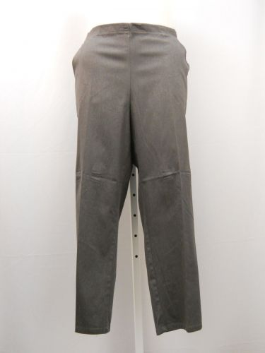JMS Women's Dress Pants Petite Size 3X Gray Pinstriped Straight Leg Back Elastic