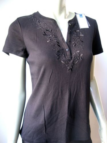Croft & Barrow NEW Blk Cotton Embroidery Short Sleeves Pull Over Top Shirt PM PR