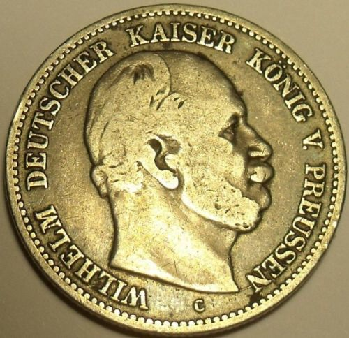 Rare Silver Prussia 1876-C Zwei Mark (2 mark)~1st Year Ever Minted~Free Shipping