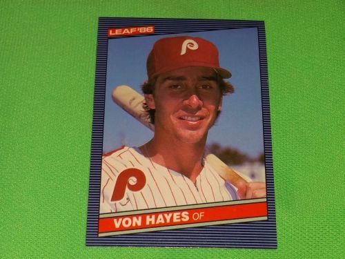 RETRO Von Hayes Phillies 1986 Leaf Baseball GD-VG