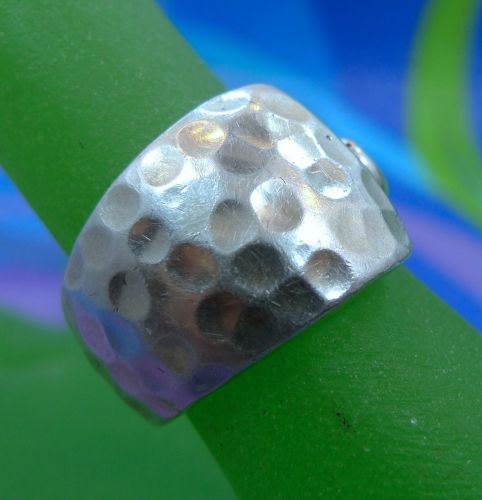 sz 6.5 RING: sterling 925 silver Chunky Hammered SILKY smooth