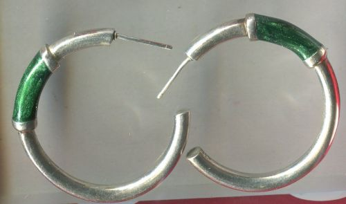 "Hoop Earrings : Iridescent Green ""C"" On Sterling Silver"