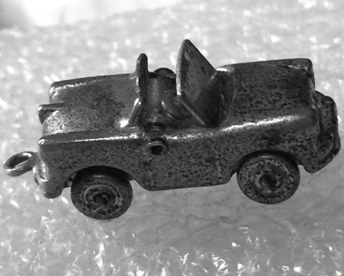 Vintage Silver Charm : Articulated Car - Convertible Top - Wheels Turn