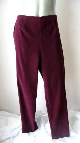 Counterparts NEW Burgundy Pullon Flat Front Elastic Back Stret Suede Pants XL PR